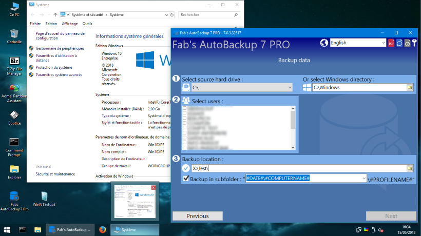 Fab's AutoBackup 7 Pro running inside WIN10XPE