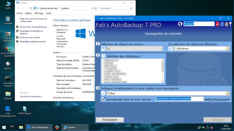 Fab's AutoBackup 7 Pro sous WIN10XPE