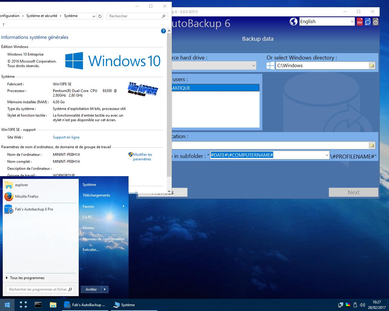 Fab's AutoBackup 6 Pro running inside WIN10PE SE