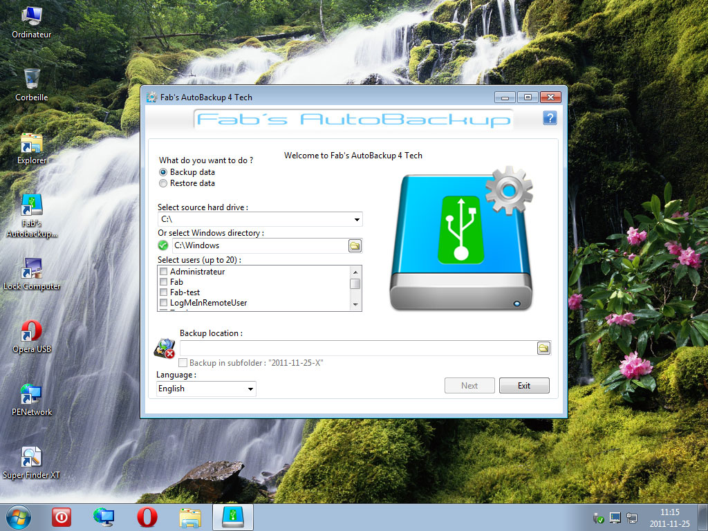 Fab's AutoBackup 4 Tech running inside WIN7PE SE