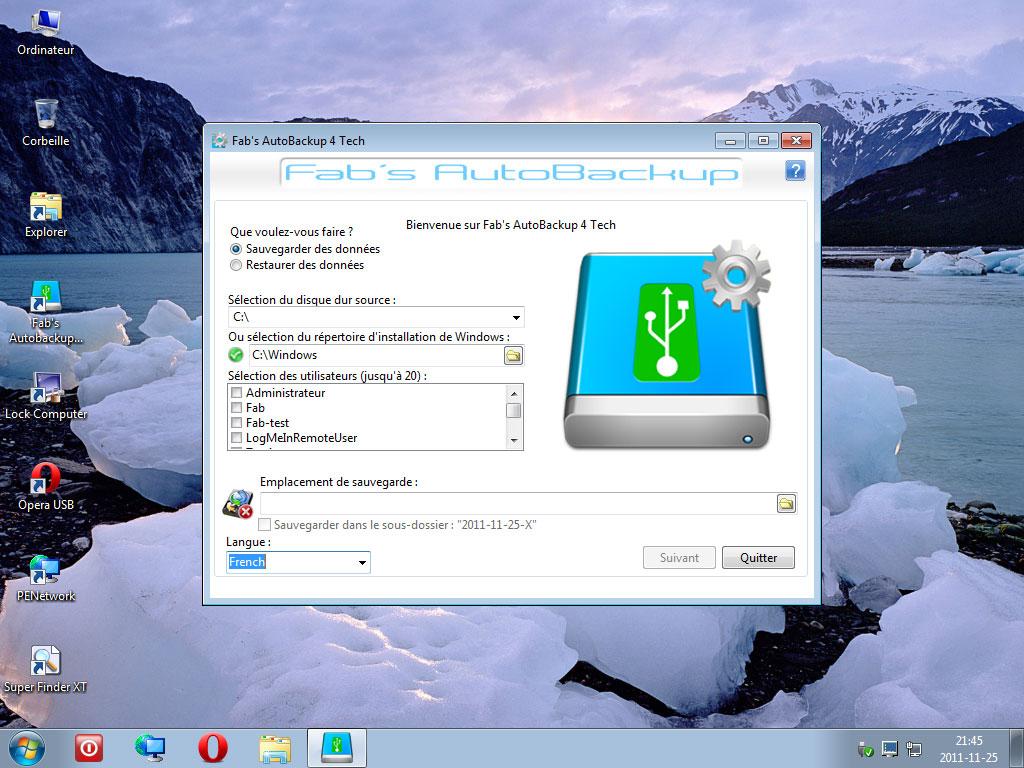 Fab's AutoBackup 4 Tech sous WIN7PE SE