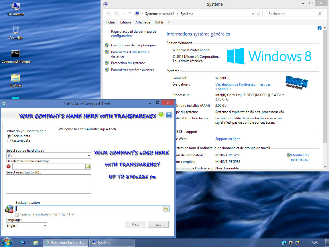 Fab's AutoBackup 4 Tech running inside WIN8PE SE