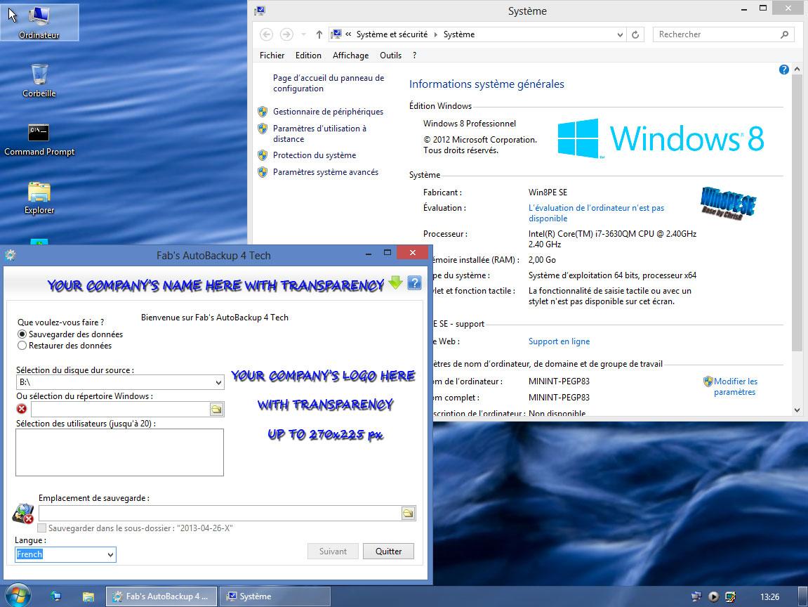 Fab's AutoBackup 4 Tech exécuté sous WIN8PE SE